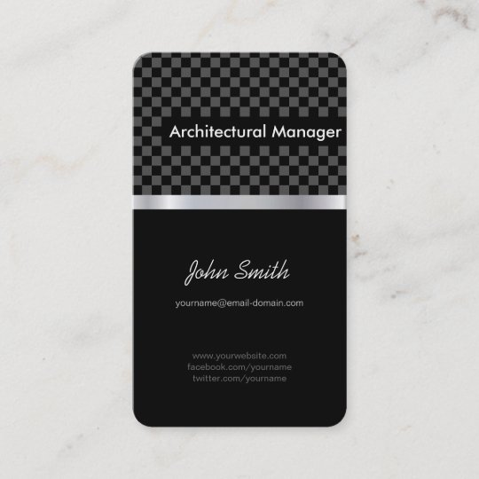 architectural manager elegant black checkered business card