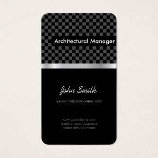 Architectural Manager - Elegant Black Checkered Business Card