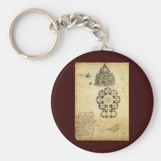 Architectural Sketch by Leonardo da Vinci Basic Round Button Keychain