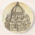 Architectural Sketch by Leonardo da Vinci Drink Coasters