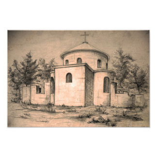 Architecture ancient church pencil art Photo print