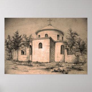 Architecture ancient church pencil art Poster