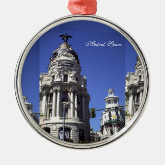 Architecture, Blues Skies,  Buildings, Churches Round Metal Christmas Ornament