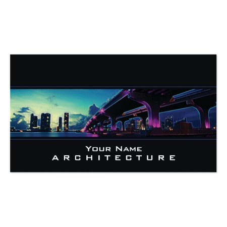Buildings and Bridge Modern Architecture Black Business Cards