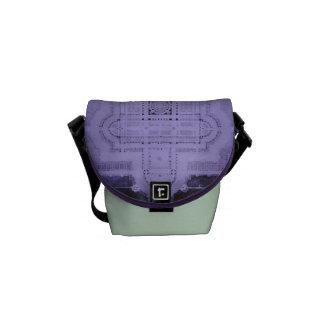 Architecture Cathedral Blueprint Purple Mint Green Messenger Bag