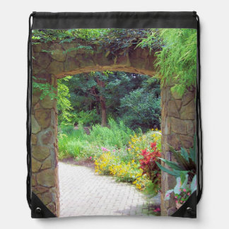 Architecture - Path Through Stone Doorway Drawstring Backpack