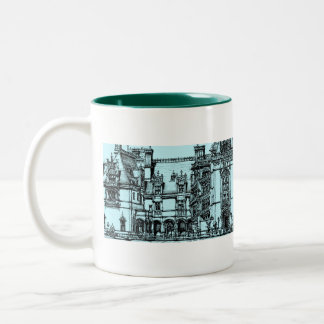 architecture pen drawing Two-Tone coffee mug