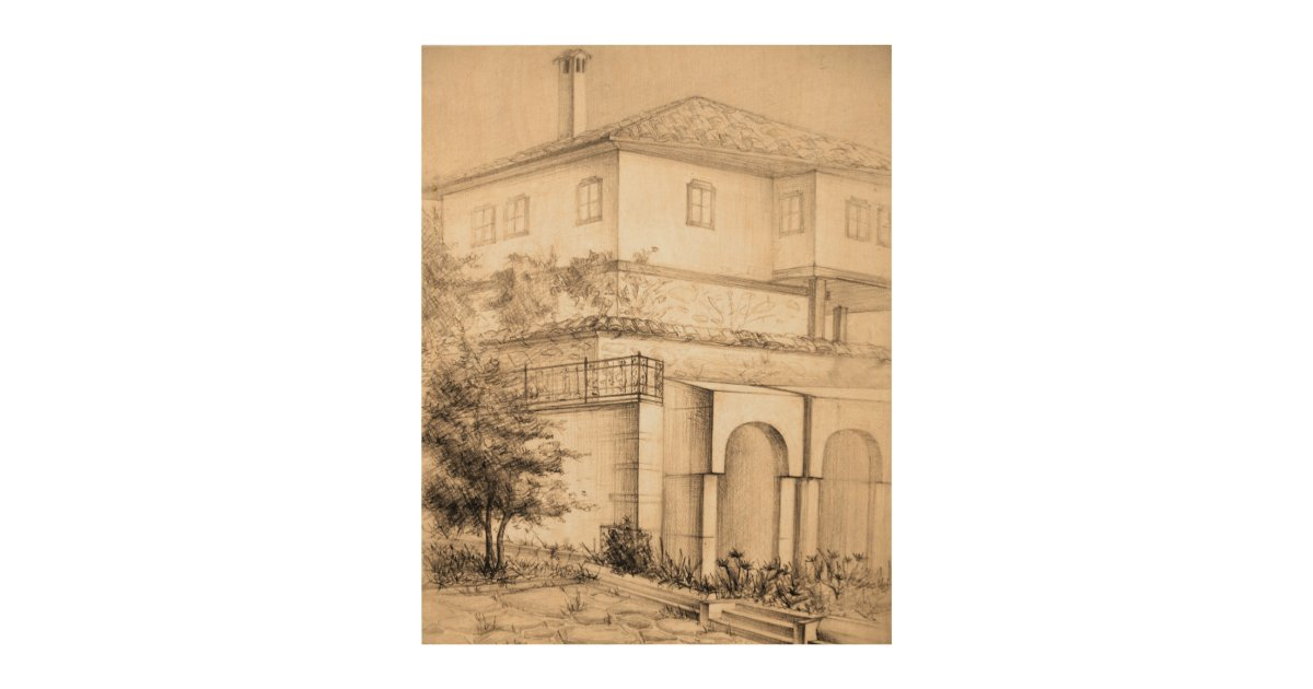Architecture traditional house pencil wood canvas zazzle for 4 1 architecture view