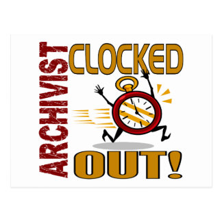 Archivist Clocked Out Postcard
