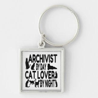 Archivista del amante del gato llaveros