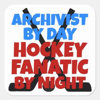 Archivista del amante del hockey pegatina cuadrada