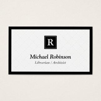 Archivista del bibliotecario - monograma elegante tarjeta de negocios