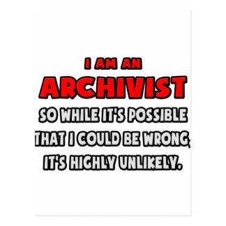 Archivista divertido. Altamente inverosímil Tarjeta Postal