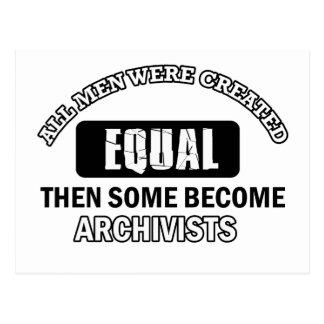 Archivists job designs postcard