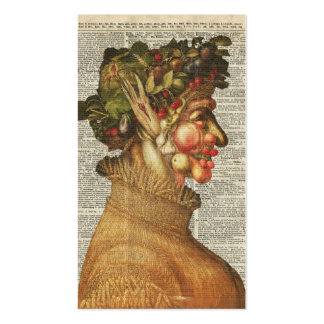 Arcimboldo Summer Vintage Collage On Old Book Page Business Card