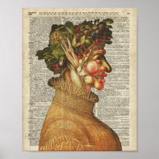 Arcimboldo Summer Vintage Collage On Old Book Page Poster