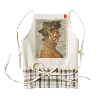 Arcimboldo Summer Vintage Collage On Old Book Page Zazzle HEART Apron