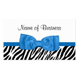 Arco azul brillante bonito del estampado de zebra tarjetas de visita