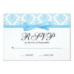 Arco azul claro RSVP de la cinta del damasco Invitaciones Personalizada