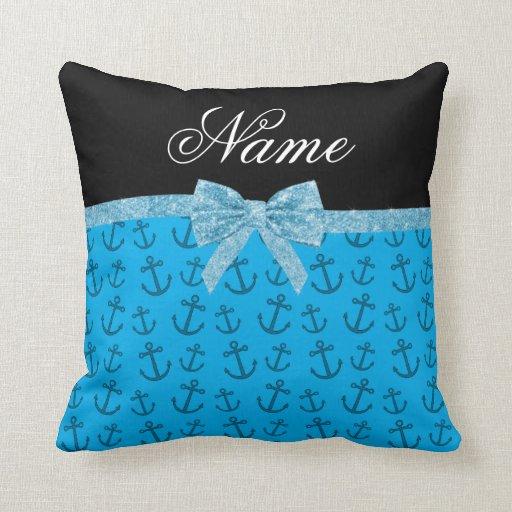 Arco azul conocido personalizado del brillo de las almohada