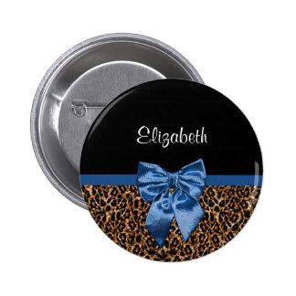 Arco azul elegante y nombre del estampado leopardo pin redondo de 2 pulgadas
