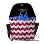 Arco azul personalizado de los galones rosados con bolsa de mensajería