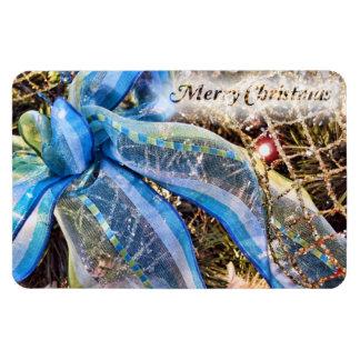 Arco azul y de plata del navidad con la guirnalda iman de vinilo