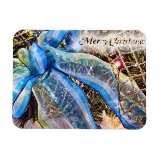 Arco azul y de plata del navidad con la guirnalda imán rectangular