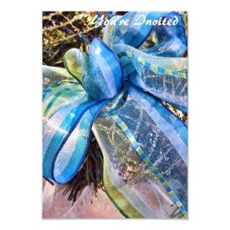 Arco azul y de plata del navidad con la guirnalda invitación 8,9 x 12,7 cm