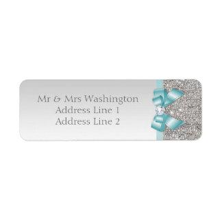 Arco azul y diamante del falso trullo de plata de etiqueta de remite