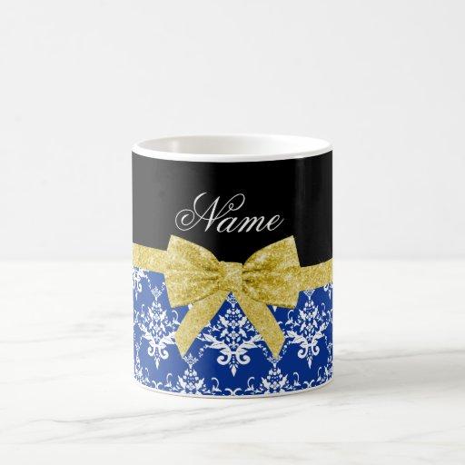 Arco blanco azul conocido personalizado del oro taza