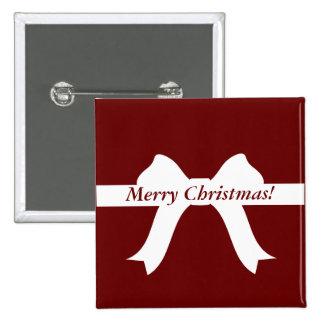 """""""Arco blanco/cinta de las Felices Navidad"""" - Pin Cuadrado"""