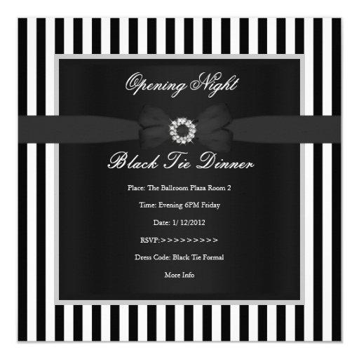 """Arco blanco de la raya de lazo negro del negro invitación 5.25"""" x 5.25"""""""