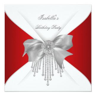 """Arco blanco de plata rojo del diamante de la invitación 5.25"""" x 5.25"""""""