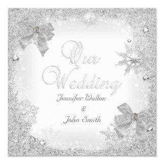 """Arco blanco del boda de la plata elegante del invitación 5.25"""" x 5.25"""""""