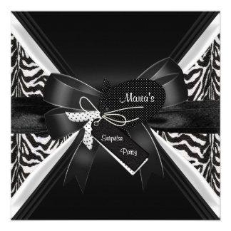 Arco blanco del negro de la cebra del fiesta de so comunicados personalizados
