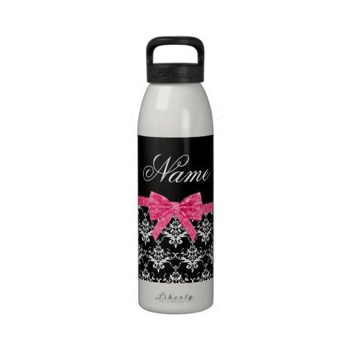 Arco blanco negro conocido de encargo del brillo d botellas de agua reutilizables