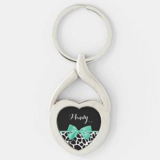 Arco bonito de la verde menta del estampado de llavero plateado en forma de corazón