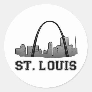 Arco de la entrada en St. Louis Pegatina Redonda