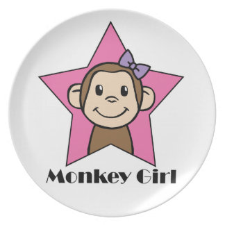 Arco de la estrella del rosa del chica del mono de plato de comida