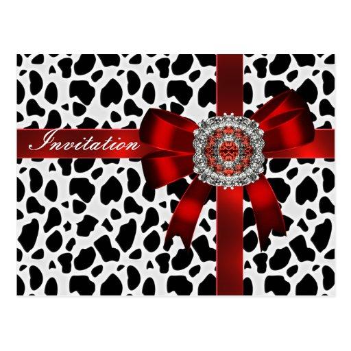 Arco de la invitación e imagen rojos blancos negro postal