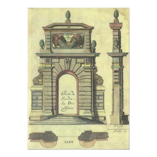 """Arco de la puerta de jardín del vintage, invitación 5"""" x 7"""""""