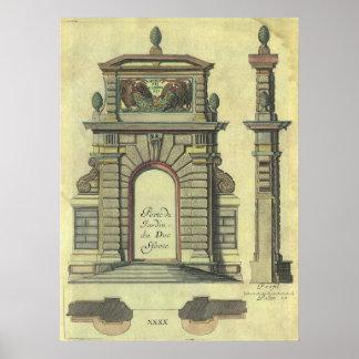 Arco de la puerta de jardín del vintage, póster