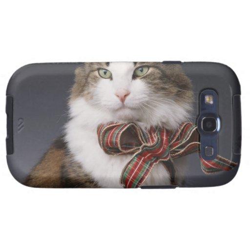 Arco de la tela escocesa del gato de Tabby que lle Carcasa Para Samsung Galaxy SIII