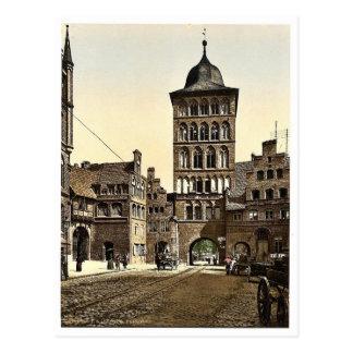 Arco de la torre, Lubeck, Alemania Photochrom raro Postales