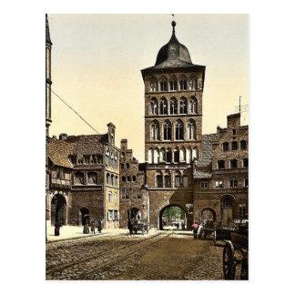 Arco de la torre, Lubeck, Alemania Photochrom raro Tarjetas Postales