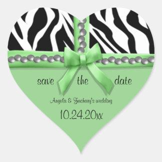 Arco de la verde lima y rayas blancas de la cebra pegatina corazón