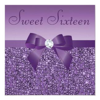 """Arco de las lentejuelas y dulce impresos púrpura invitación 5.25"""" x 5.25"""""""