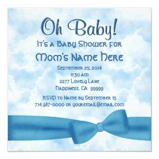 """Arco de las nubes y ducha azules del bebé del invitación 5.25"""" x 5.25"""""""