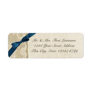 Arco de los azules marinos, cordón y país rústico etiqueta de remitente